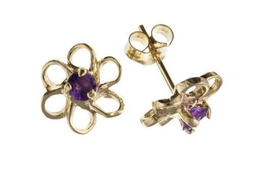 9 Carat Yellow Gold Amethyst Flower Stud Earrings